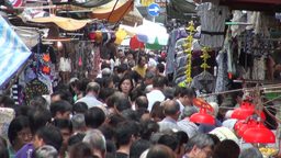 Hong Kong, street market, busy, crowd, shopping Footage