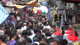 Hong Kong, street market, busy, crowd, shopping Stock Video Footage