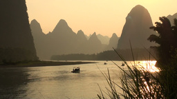 Beautiful sunset over Li river Footage