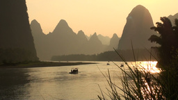 Beautiful sunset over Li river Stock Video Footage