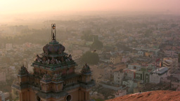 Amazing sunset over Indian temple and city Stock Video Footage