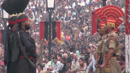 Wagah border ceremony, Pakistan and India Stock Video Footage