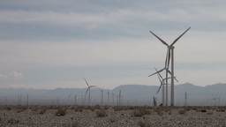 Wind turbines in Chinese desert Footage