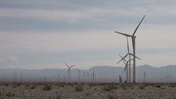 Wind turbines in Chinese desert Stock Video Footage