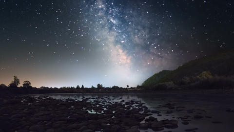 Milky Way over mountain river Footage