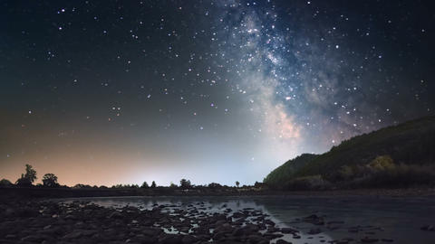 Milky Way over mountain river Stock Video Footage