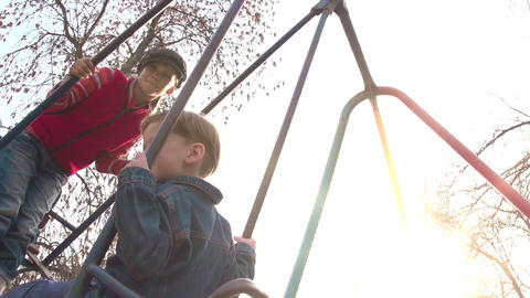 Children on a Swing Stock Video Footage