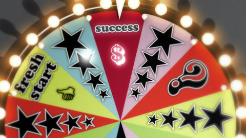 """Bankrupt"", ""Success"" and ""Fresh Start"" Spinning Wheel Slots Stock Video Footage"