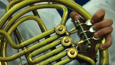 Hands play wind instrument 1 Footage