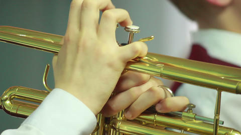 Hands play wind instrument 7 Stock Video Footage