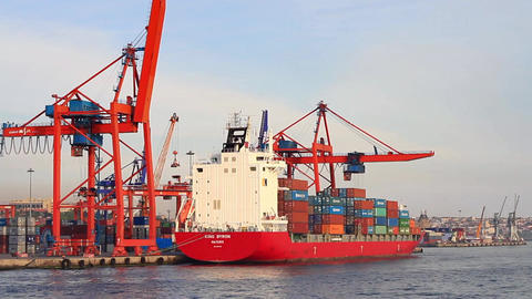 Red Container Ship stock footage