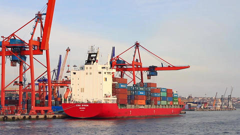 Red Container Ship Stock Video Footage