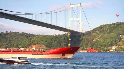 Red cargo ship sailing under Bosporus Bridge Stock Video Footage