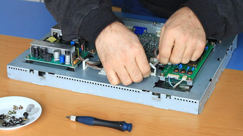 Technician fixing the cables Stock Video Footage
