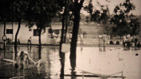 Flooded Homes In Dallas Texas 1948 Vintage 8mm Stock Video Footage