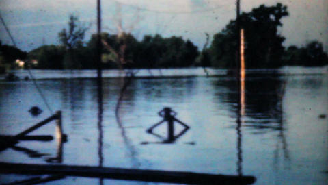 Flooded River In Dallas 1948 Vintage 8mm Stock Video Footage