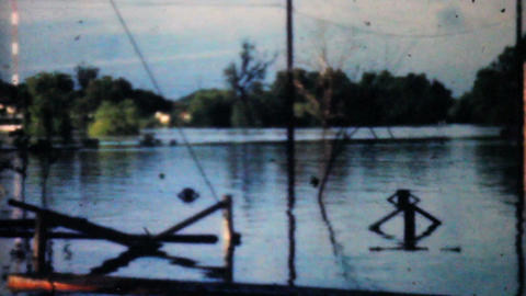 Flooded River In Dallas 1948 Vintage 8mm stock footage