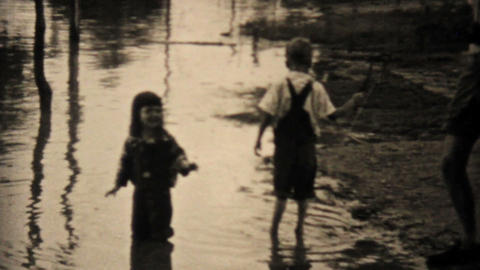Kids Explore Their Flooded Neighborhood In Dallas Texas 1948 Vintage 8mm Footage