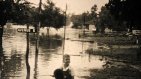 Kids Explore Their Flooded Neighborhood In Dallas Texas... Stock Video Footage