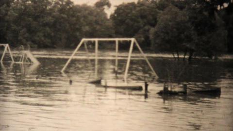 Kids Explore Their Flooded Neighborhood In Dallas Texas... Stock Video Footage