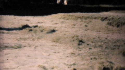 Muddy Flooded River In Dallas Texas 1948 Vintage 8mm Stock Video Footage