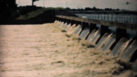 Raging Flood Waters Pour Through Spillway In Dallas 1948... Stock Video Footage