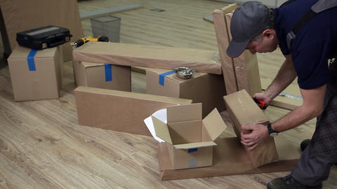 Preparation for Assembly of Office Furniture Stock Video Footage