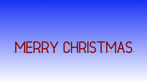 Flight through red 3d text Merry Christmas Animation