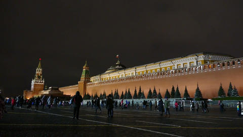 The Kremlin And Lenin's Mausoleum in Moscow Night Footage