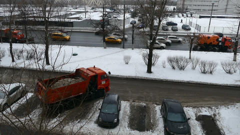 Cleaning Machines Snow in Moscow in December Footage