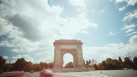 Time lapse of the Arch De Triumf in Bucharest, Romania Footage