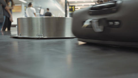 Luggage on a conveyor in the airport Footage