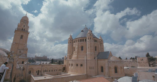 The Dormition abbey in old city Jerusalem Footage