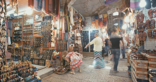 Time lapse of the market in the old city of Jerusalem Footage