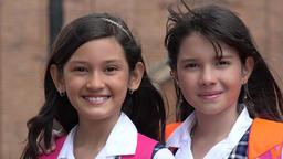 Happy School Girls Smiling Footage