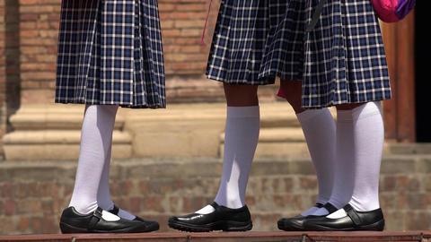 School Girls Wearing White Socks Skirts Footage