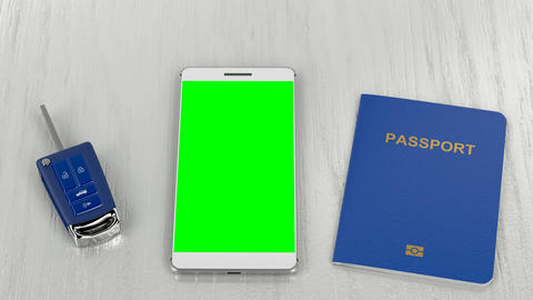 Car key, passport and smartphone Animation