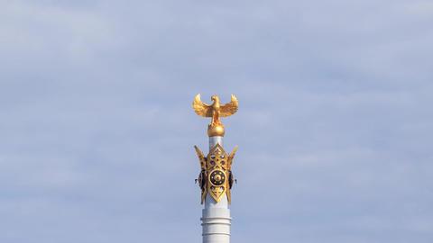 Kazak eli Stella. Independent symbol of Kazakhstan. Zoom. Astana. Time Lapse Footage