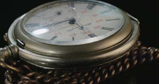 Macro shot of an antique pocket watch Footage