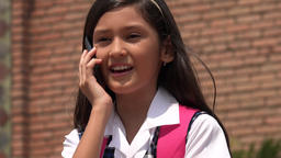 Pretty Child Talking On Cell Footage
