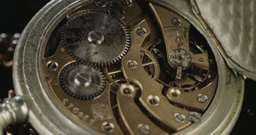 Macro shot of antique clock mechanism Footage