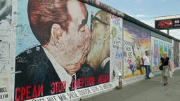 Famous male kiss of Brezhnev and Honecker at the Berlin Wall Footage