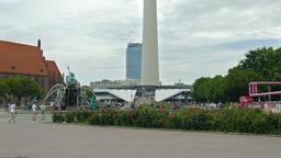 Berlin Mitte. View on Neptunbrunnen fountain Footage