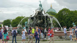 The Neptunbrunnen (Neptune) fountain in Berlin, Germany Footage