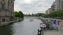 The Spree river next to the Berlin Cathedral (Berliner Dom) Footage