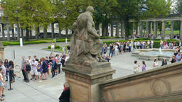 People waiting in a long queue to the Old National Gallery in Berlin, Germany Footage