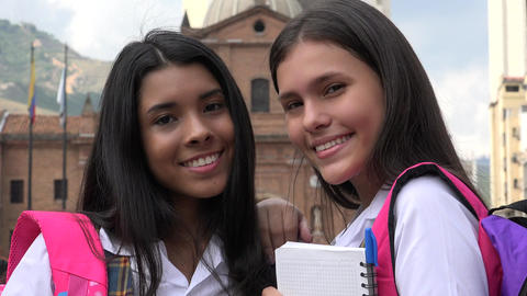 Happy Smiling Female Students Stock Video Footage