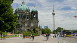 Berlin Cathedral and Berlin TV Tower. Street view Footage