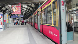 Train at Bahnhof Friedrichstrasse in Berlin Footage