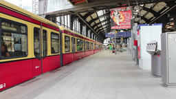 Train Leaves The Central Station at Bahnhof Friedrichstrasse in Berlin Footage